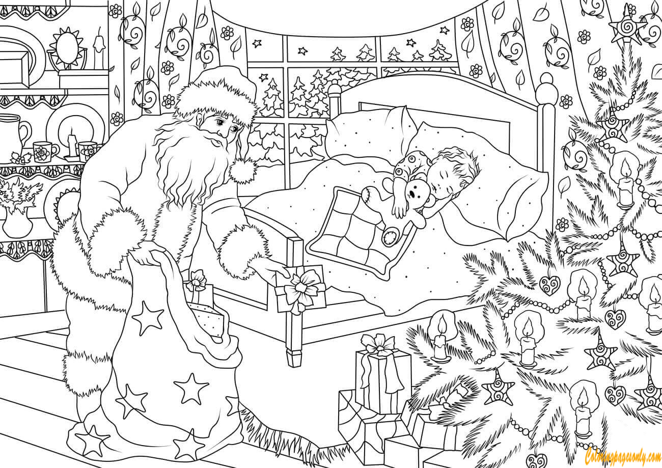 Santa Claus Delivering Presents For A Little Boy Coloring