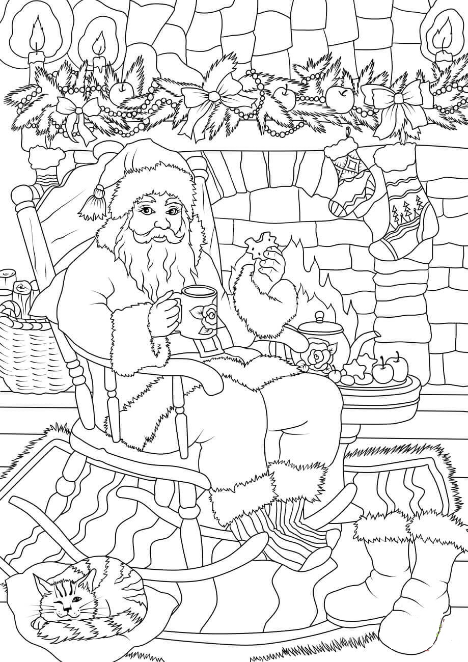 Santa Claus Drinking Tea