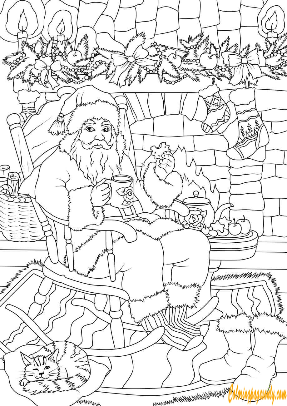 Santa Claus Drinking Tea Coloring Page
