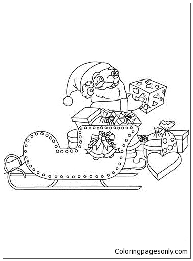 Santa Claus His Sleigh Coloring Page