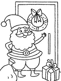 Santa Claus Knocking The Door Christmas Coloring Page