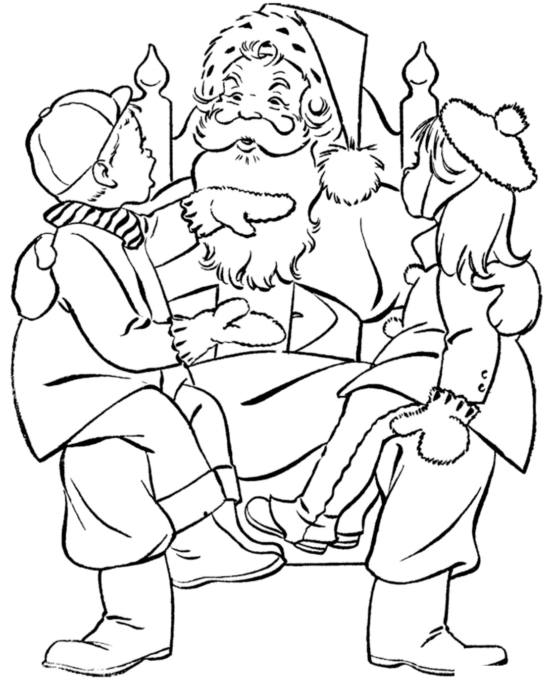 Santa Claus Love Kids Coloring Page
