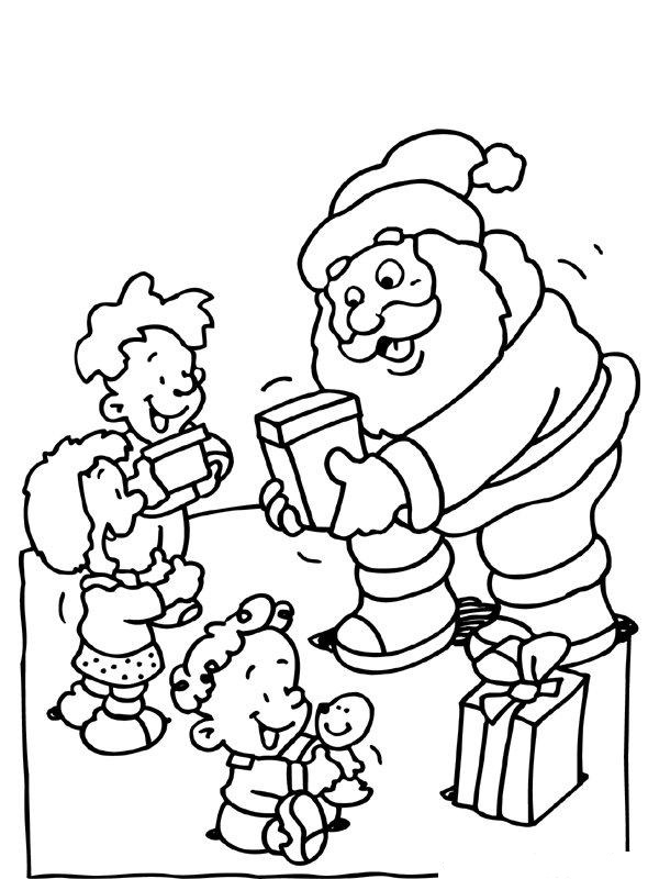 Santa Claus Offering Gifts to Kids
