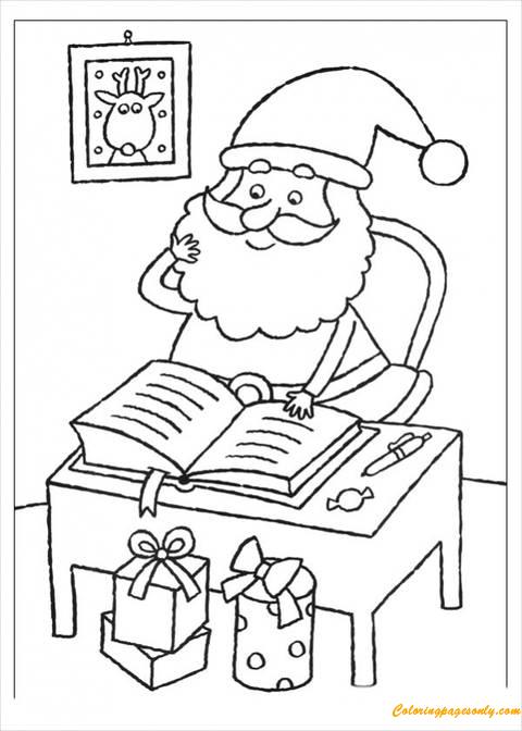 Santa Claus Reading Book Coloring Page