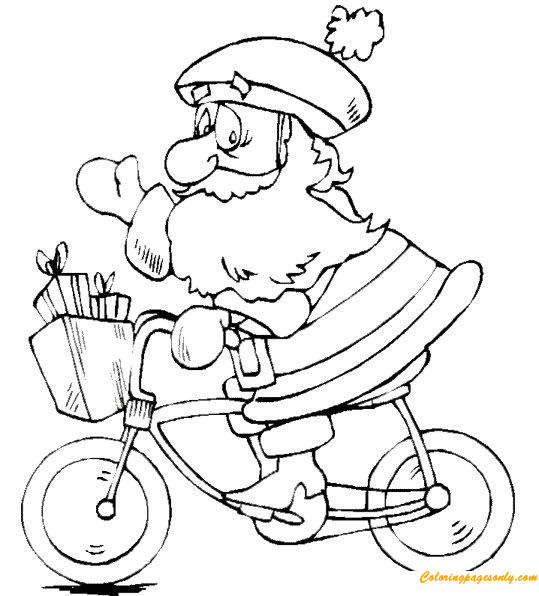 Santa Claus Ride A Bike Coloring Page