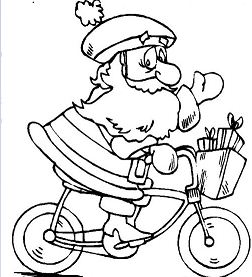 Santa Claus Riding A Bicycle To Prepare The Christmas Day