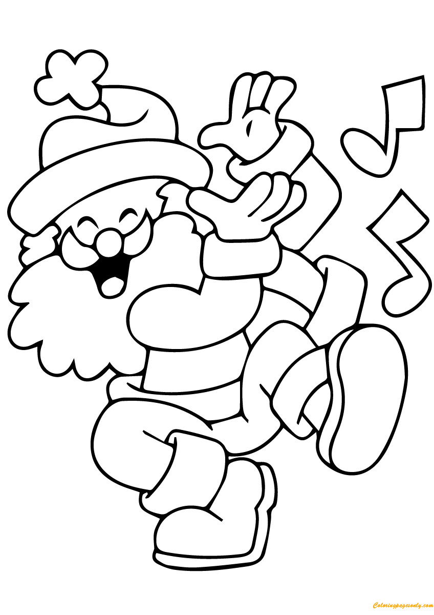 Santa Claus Singing Coloring Page  Free Coloring Pages Online