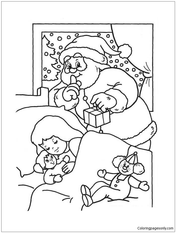 Santa Claus Surprise For A Girl Coloring Page