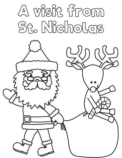 Santa Claus Visit School Coloring Page