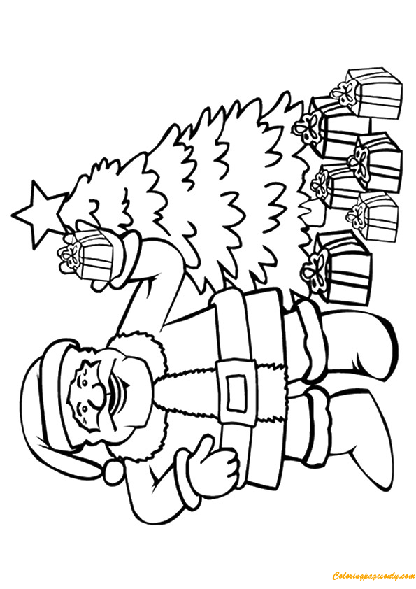Santa Clause And Gifts Coloring Page