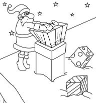 Santa Delivers Christmas Gifts Coloring Page