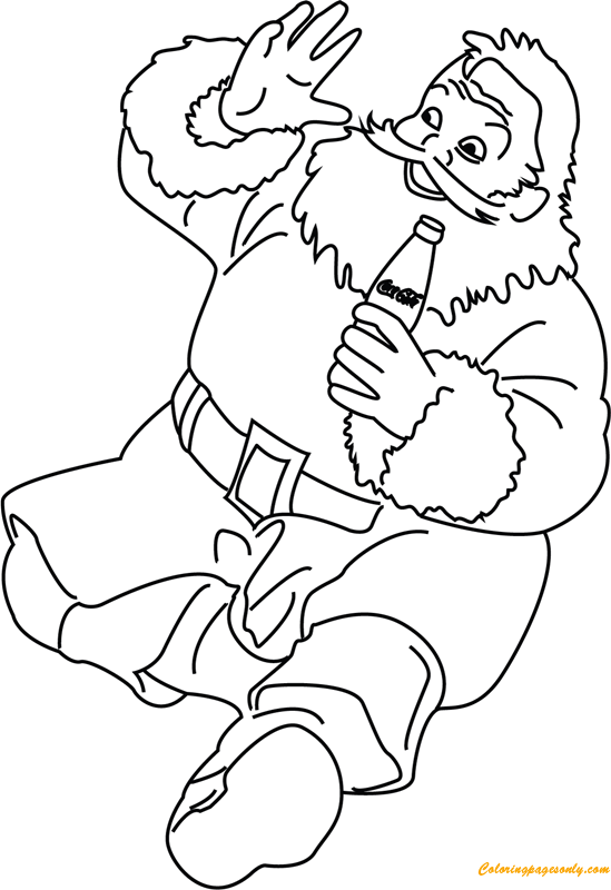 Santa Enjoying Drink Coca Cola Coloring Page - Free Coloring Pages ...