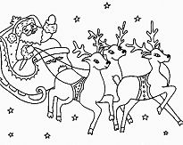 Santa Flying With Reindeer Coloring Page
