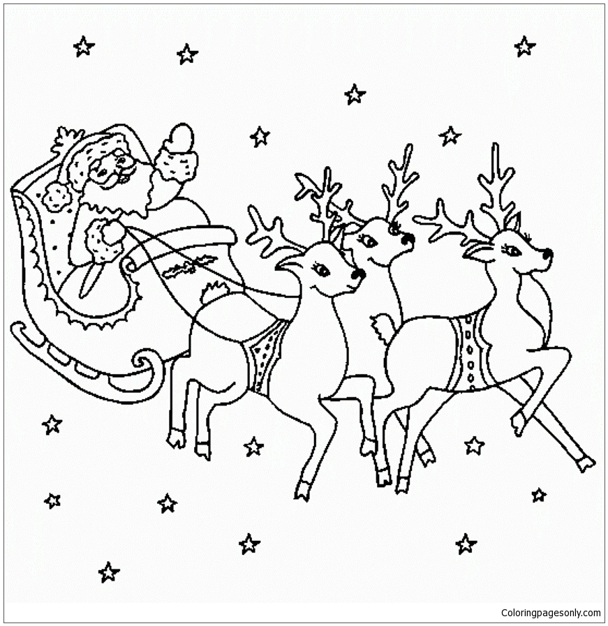 Santa Flying With Reindeer Coloring Page - Free Coloring ...