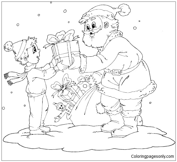 Santa Giving Boy A Gift Coloring Page