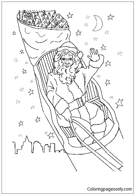Santa In A Sleigh Coloring Page