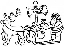Santa in Sleigh Pulled In North Pole Coloring Page