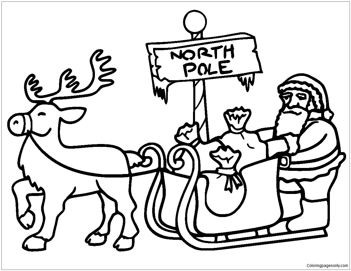 Santa In Sleigh Pulled Coloring Page