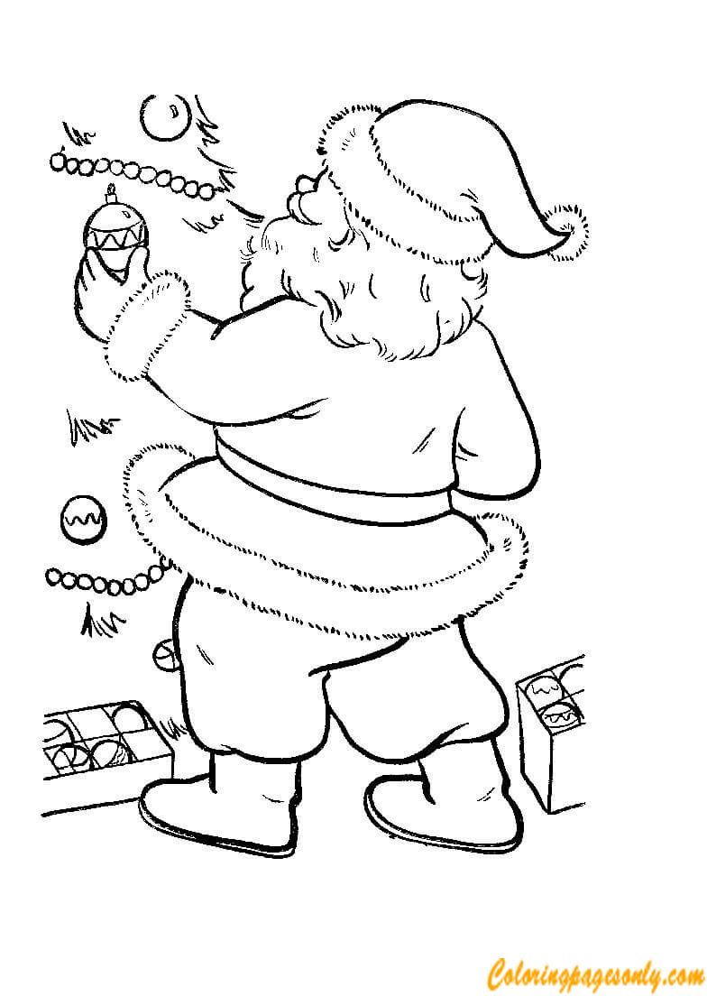Santa Is Putting Decorations Christmas Tree Coloring Page