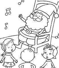 Santa Listening Kids Singing Christmas Coloring Page
