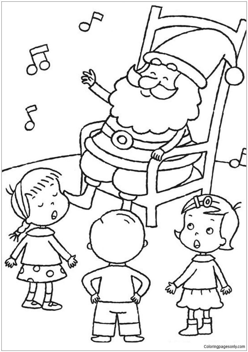 Santa Listening Kids Singing Christmas Coloring Page ...