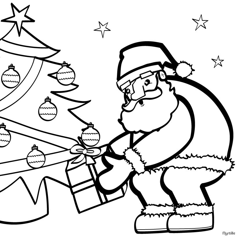 Santa Near The Christmas Tree Coloring Page