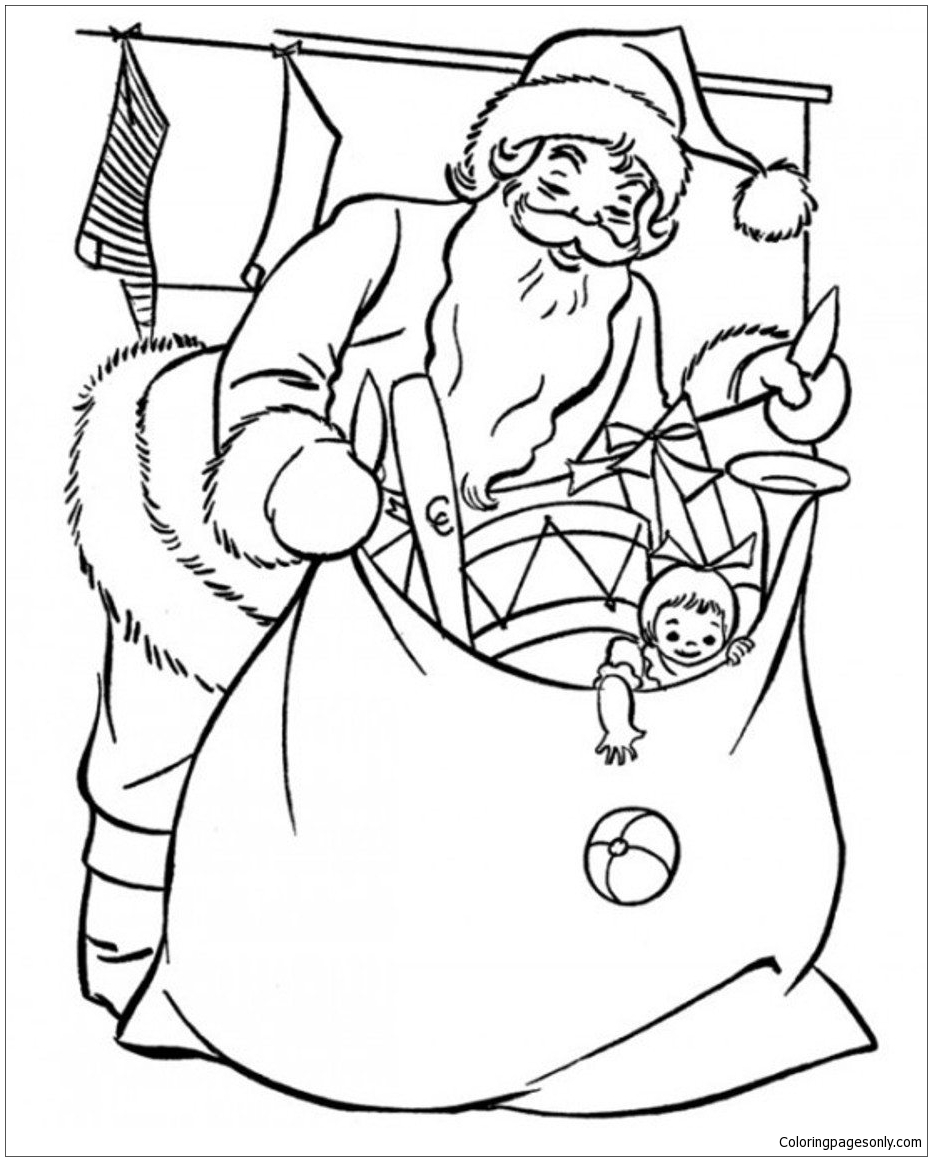Santa Preparing Gifts Christmas Coloring Page