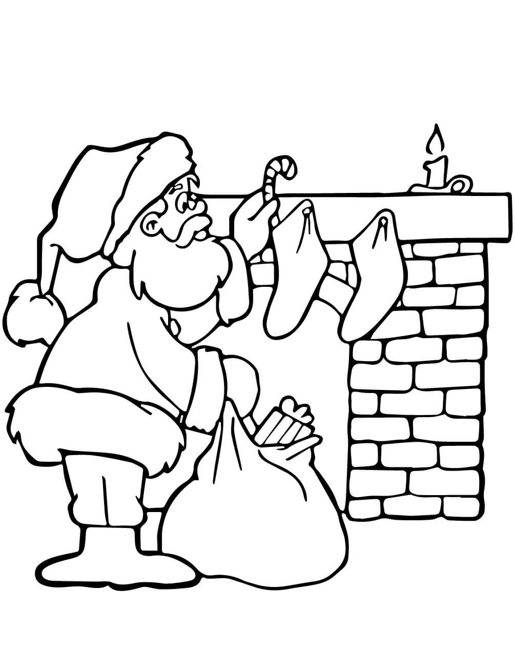 Santa Putting Gifts Coloring Page