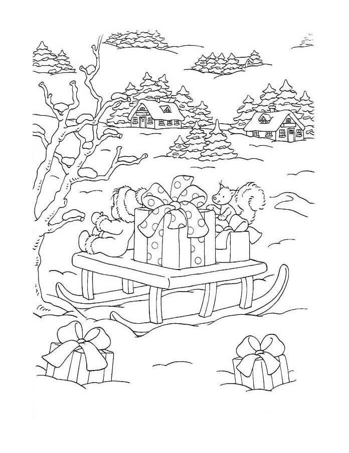 Santa Sleigh Full Of Gift Box For Christmas