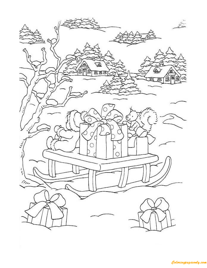 Santa Sleigh Full Of Gift Box For Christmas Coloring Page