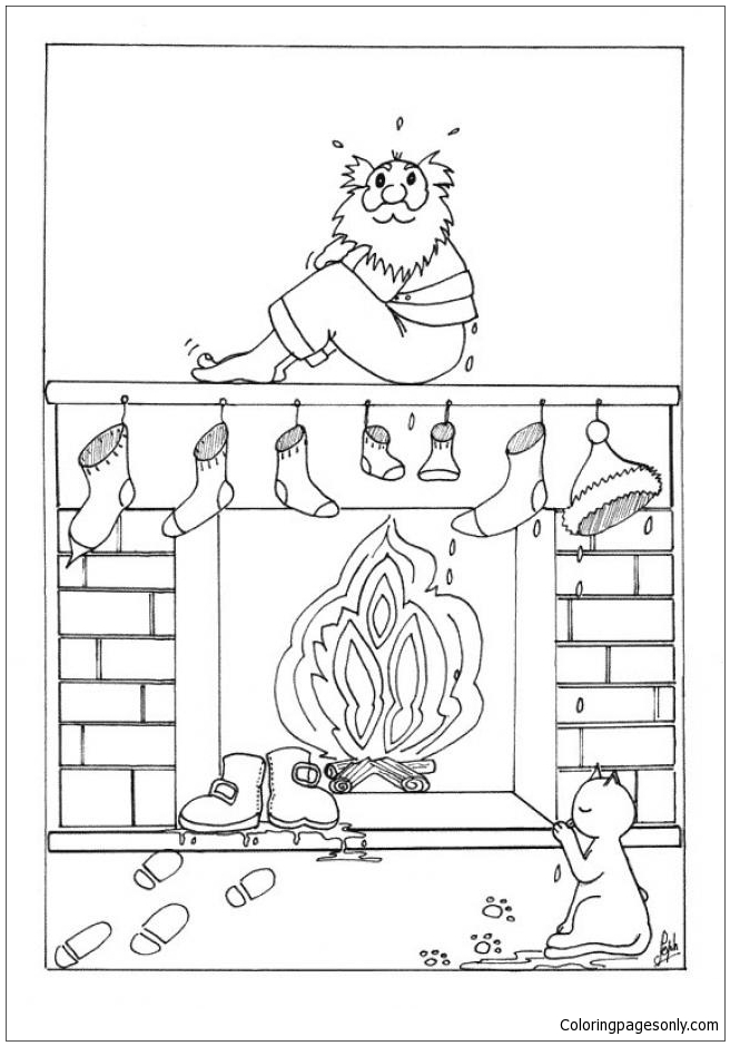 Santas Wet Socks Over The Fireplace Coloring Page