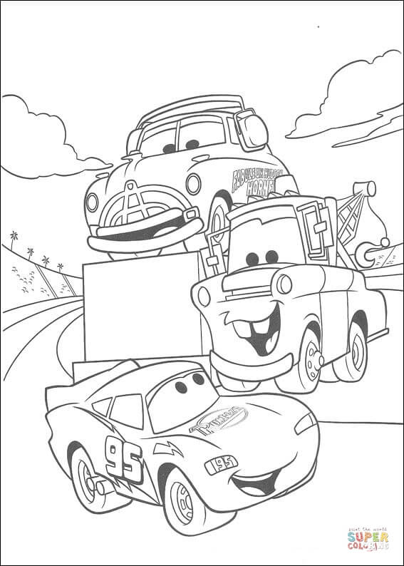 Mater And Mcqueen From Disney Cars Coloring Page Free Coloring