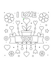 Say Love You On Valentines Day Coloring Page