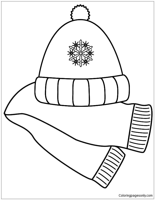 scarf and winter hat coloring page free coloring pages