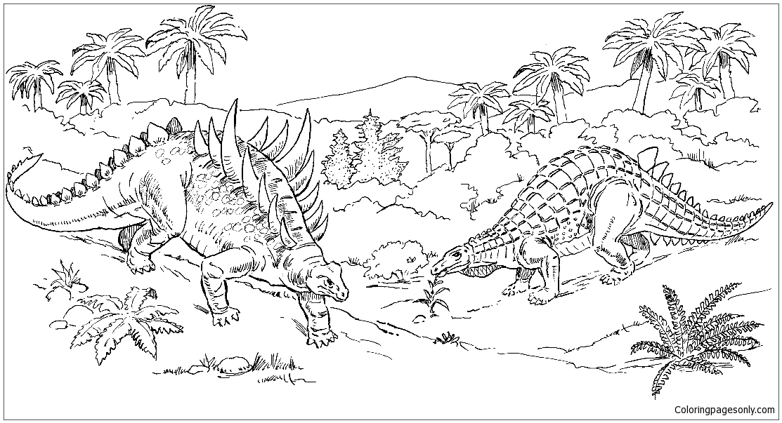 Scelidosaurus And Polacanthus  Coloring Page