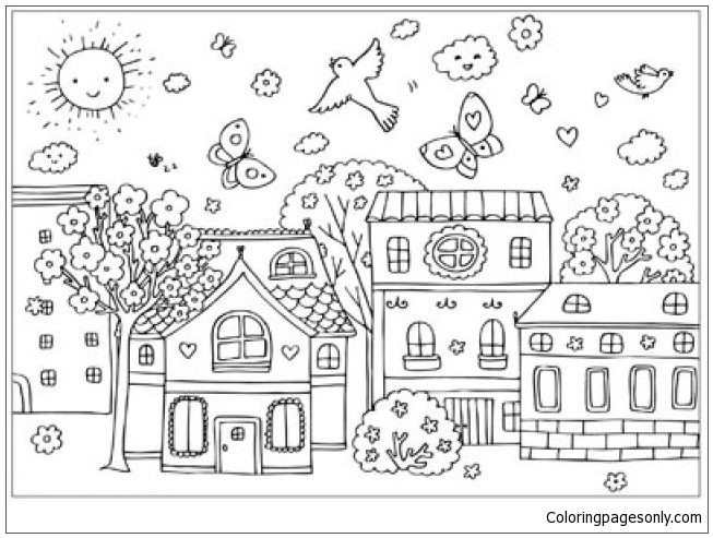 Scene Of Spring Street Coloring Page