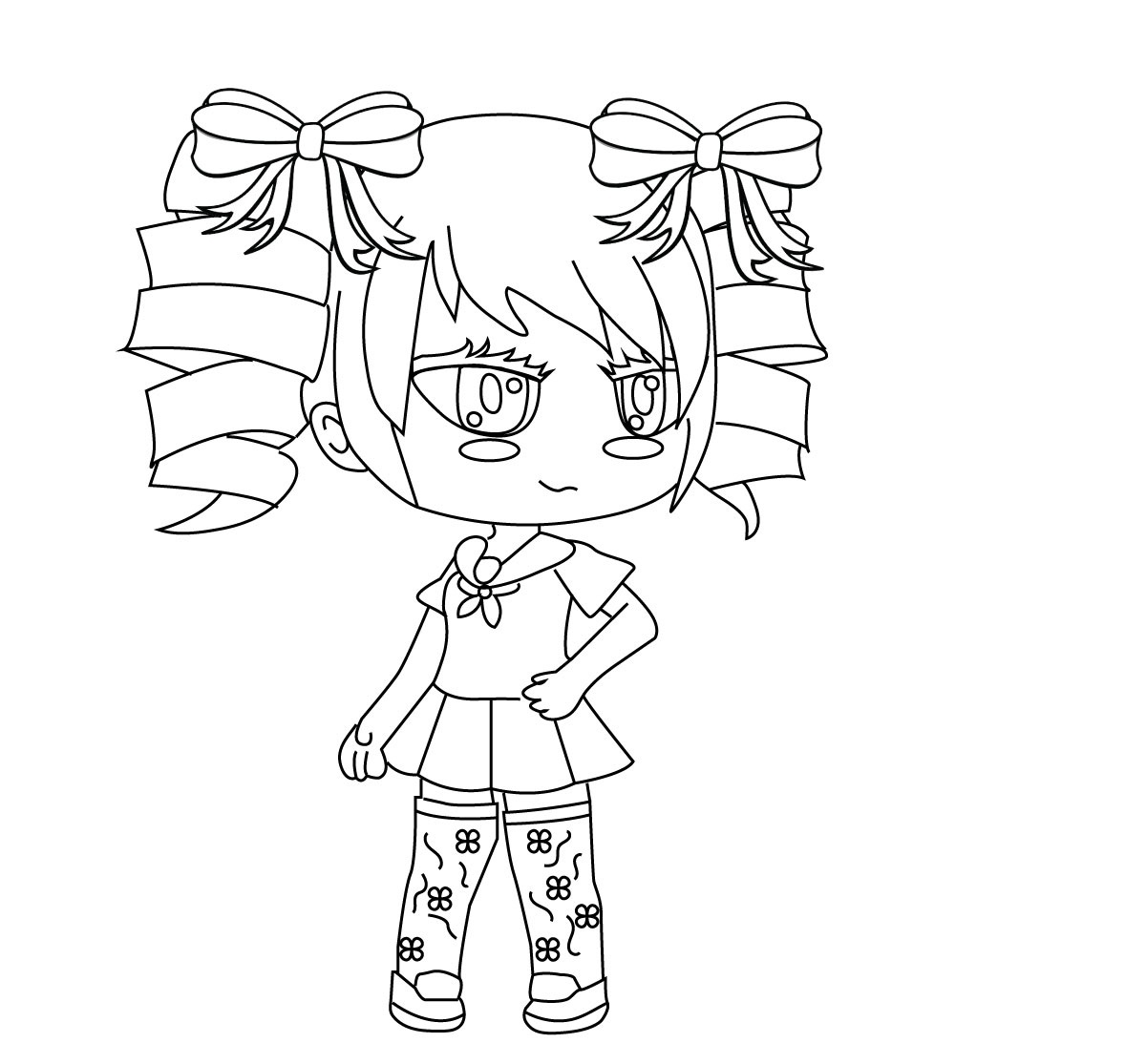 Schoolgirl with curly long hair Coloring Page