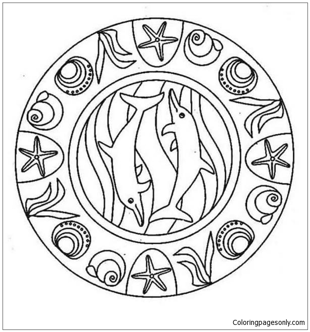 sea animal mandala dolphin coloring page free coloring pages online. Black Bedroom Furniture Sets. Home Design Ideas