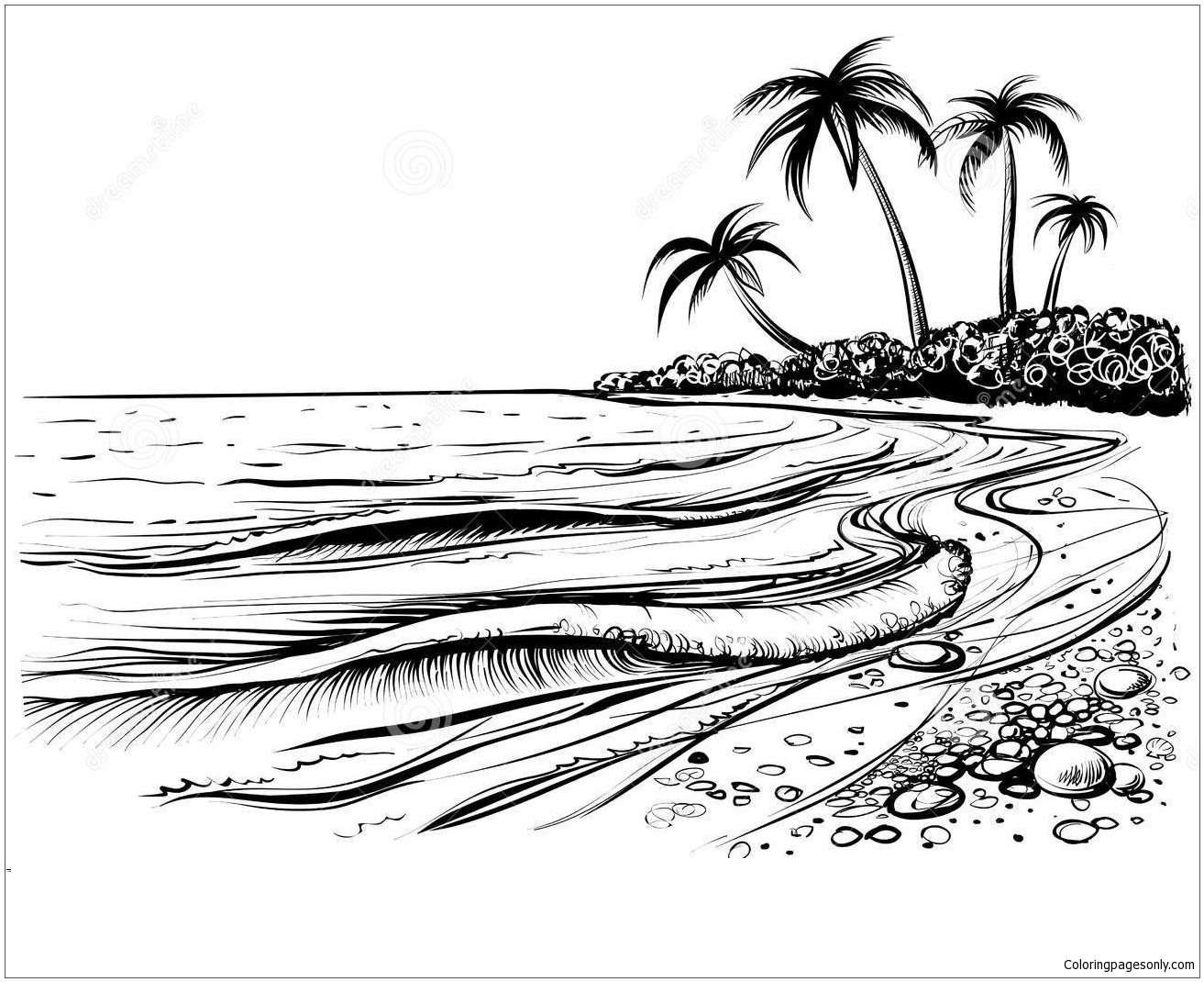 Sea Beach With Waves Coloring Page Free Coloring Pages