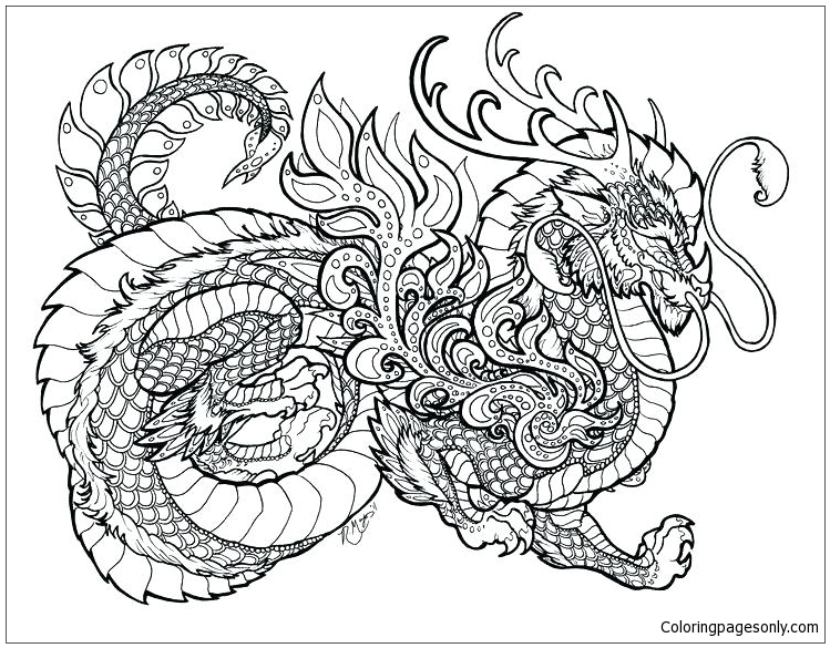 Free Realistic Dragon   Coloring Pages For Adults, Download Free ...   585x749