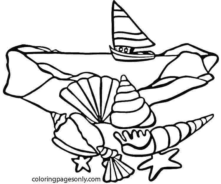 Sea Shells at the beach Coloring Page