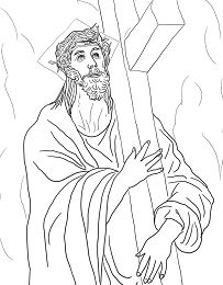 Second Station - Jesus Carries His Cross Coloring Page