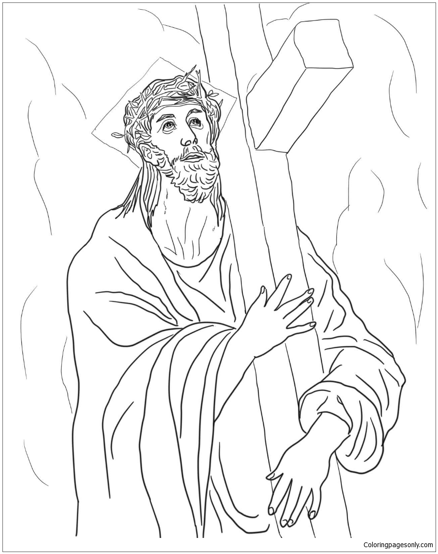 Second Station – Jesus Carries His Cross Coloring Pages
