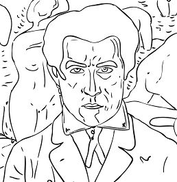 Self Portrait by Kazimir Malevich from Famous paintings Coloring Page