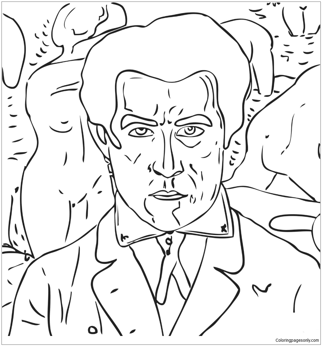 Self Portrait by Kazimir Malevich from Famous paintings Coloring Pages
