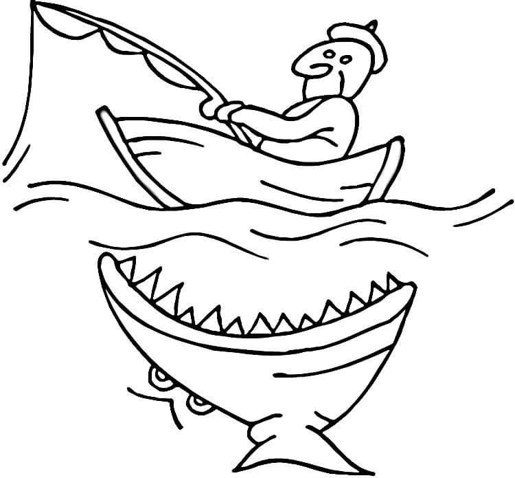 Shark Attacking Fishing Boat Coloring Page