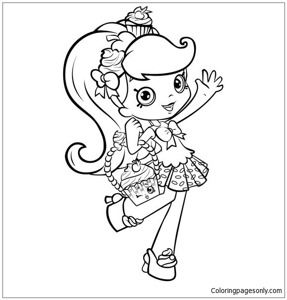 Shopkins Girl Shoppie Say Hi Coloring