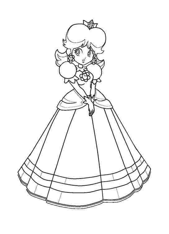 Shy Princess Daisy from Super Mario Bros Coloring Page