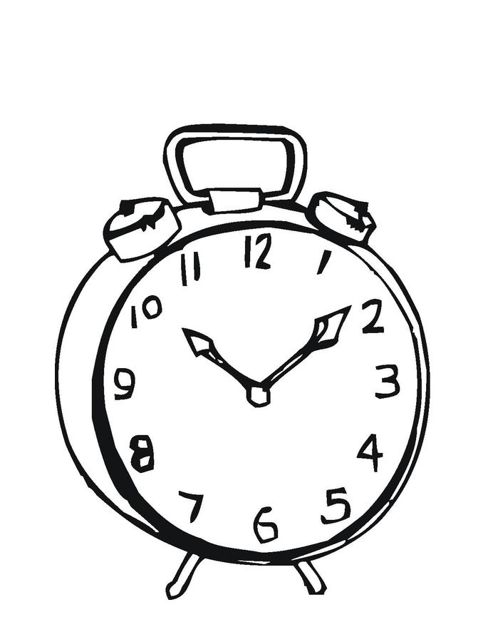 Simple Alarm Clock Coloring Page