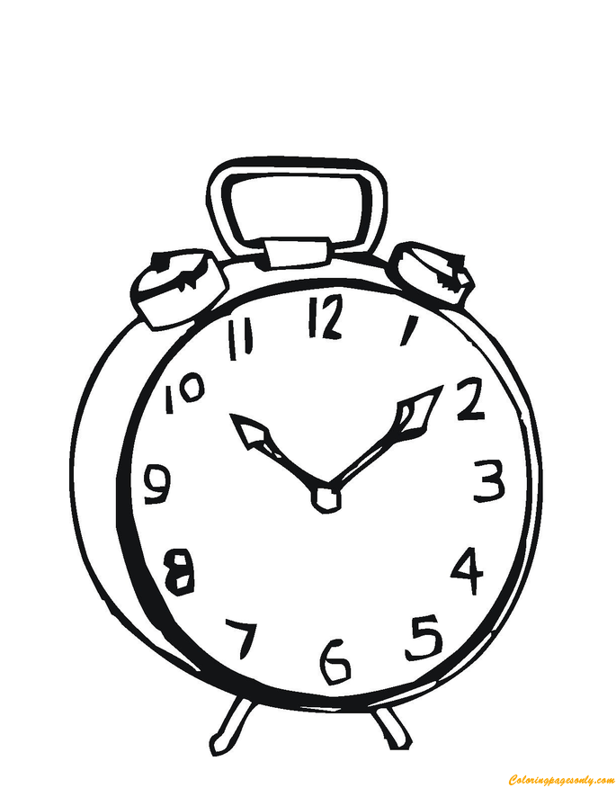 Simple Alarm Clock Coloring Page - Free Coloring Pages Online